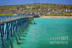San Clemente Pier Print by Joan Carroll San Clemente Pier, Canvases, Wonderful Images, Artist At Work, Southern California, Lakes, Cabins, Fine Art America, Coastal