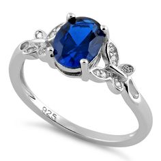 Sterling Silver Double Butterfly Blue Spinel Center Stone CZ Ring