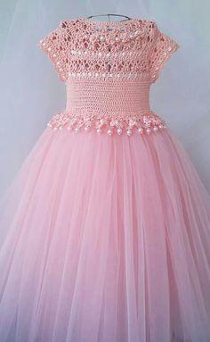 Vestido de niña con detalles TEJIDOS Rosa