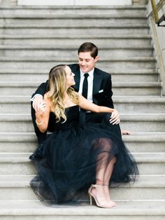 Chic Black Tie Engagement Session: http://www.stylemepretty.com/georgia-weddings/atlanta/2015/11/09/classically-chic-engagement-session-at-the-georgian-terrace-hotel/ | Photography: MPS Photographie - http://www.mpsphotographie.com/