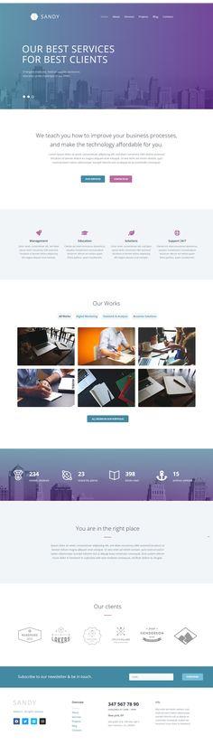 Sandy Web Design Website Template With Elementor Builder Wordpress Theme 52603 In 2020 Wordpress Theme Web Design Wordpress Theme Responsive