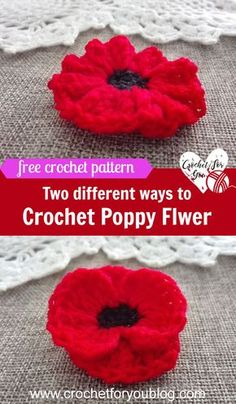 Crochet Flowers Pattern Crochet Poppy Flower Free Pattern - This Crochet Poppy Flower pattern is easy and quick to crochet. In this free pattern, I will show you 2 different ways to crochet poppy flower. Crochet Puff Flower, Crochet Flower Patterns, Crochet Patterns For Beginners, Crochet Designs, Crochet Flowers, Pattern Flower, Knitted Poppies, Crochet Appliques, Crochet Stars
