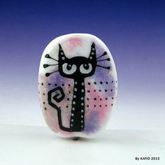 """The Philosophical Feline"" Bykayo A Handmade Cat Lampwork Glass Focal Bead SRA 