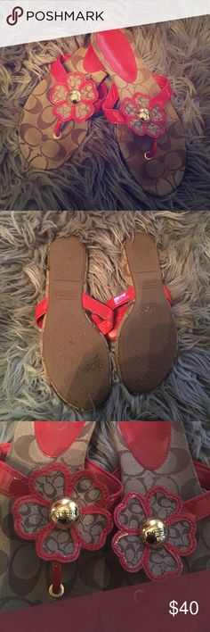 """Authentic Coach Sandals Beautiful sandals by Coach! """"Sherrie"""" Brown monogram with red-orange patent leather trim and straps. Great used condition size 6.5. Coach Shoes Sandals"""