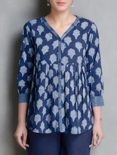 Indigo Hand Block Printed Cotton Top by Aavaran Short Kurti Designs, Printed Kurti Designs, Kurta Designs Women, Blouse Designs, Casual Tops For Women, Dressy Tops, Cotton Tops For Jeans, Indian Tops, Indian Ethnic