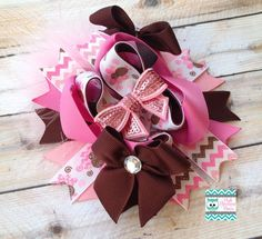 OTT Fall Pink Turkey Stacked Boutique Bow, Thanksgiving Bow on Etsy, $12.75