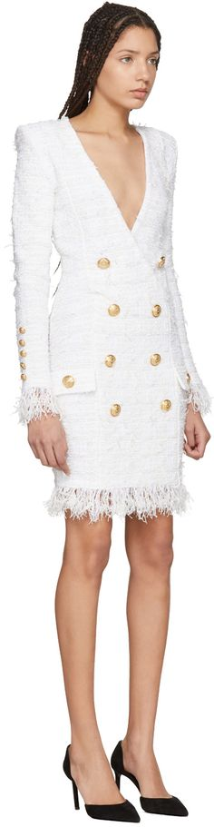 Balmain - White Tweed Double-Breasted Dress
