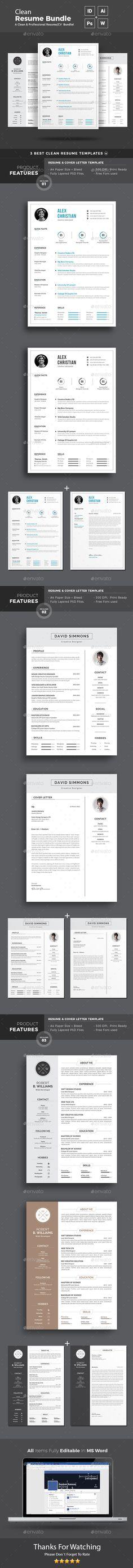 Resume Design Template Bundle - Resumes Stationery Design Template ...