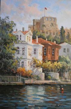 Cool Landscapes, Landscape Paintings, Building Painting, Landscape Pictures, Gravure, Acrylic Painting Canvas, New Art, Watercolor Art, Scrappy Quilts