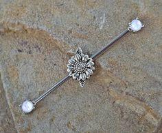 Daisy Industrial Barbell Opal Ends Scaffold Piercing 14ga Body Jewelry Piercing…