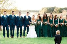 Bridal party and groomsmen, forest green bridesmaid dresses, navy suits