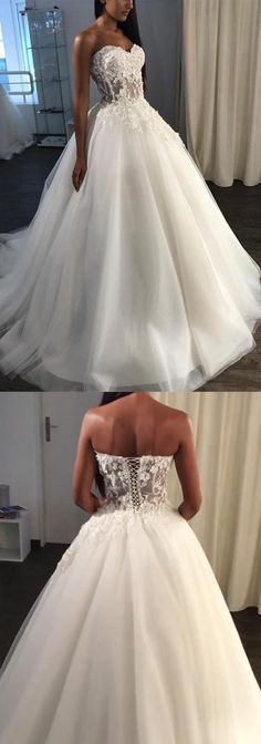 A-Line Sweetheart Sweep Train Tulle Appliques Wedding Dress WD227 #wedding #weddingdress #lace #tulle #white #pgmdress