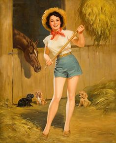 Farm Girl Pin-Up. my favorite place to be. missing it a bit. Pin Up Vintage, Vintage Cowgirl, Vintage Art, Horse Posters, Pin Up Posters, Modelos Pin Up, Earl Moran, Pin Up Art, Retro Art