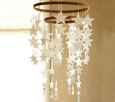 DIY hanging star mobile from pottery barn kids Girl Nursery, Nursery Decor, Room Decor, Nursery Ideas, Baby Decor, Pottery Barn Kids, Star Decorations, Christmas Decorations, Hanging Stars