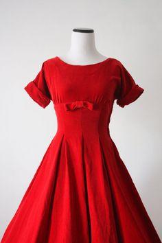 50s dress - vintage 1950s Jonathan Logan red velvet dress