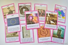 This file contains the timeline cards of Europe (ancient times, medieval period, early modern and modern times). Montessori Preschool, Preschool Activities, European History, World History, Modern Times, Teaching Tips, After School, Social Studies, Timeline