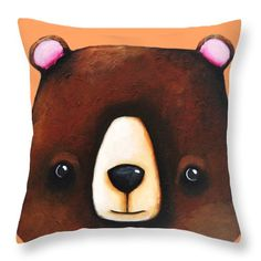 Whimsical Throw Pillow featuring the painting The Big Brown Bear by Lucia Stewart