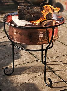 Beautiful Beaten Copper Fire Pit Fire Bowl With Black Stand Patio Garden