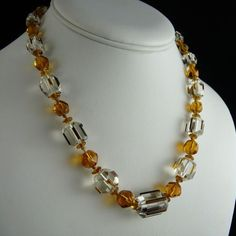 Art Deco Citrine Czech Glass Bead Necklace from ornaments on Ruby Lane