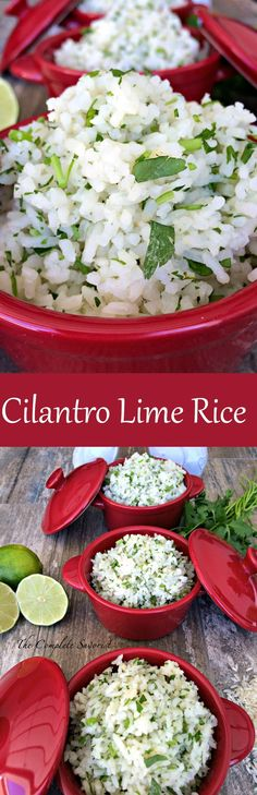Cilantro Lime Rice ~ The Complete Savorist Lime and Cilantro flavor your simple white rice.