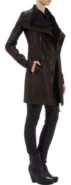 Rick Owens Leather Funnel-Neck Long Moto Jacket at Barneys.com