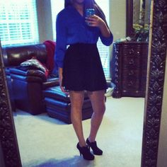 Royal blue shirt, black high waisted skirt! Easy and cute!