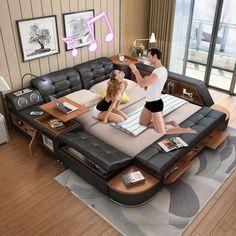 Schlafzimmer Möbel Ordentlich Echte Echtem Leder Bett Tv Weichen Betten Schlafzimmer Camas Lit Muebles De Dormitorio Yatak Mobilya Quarto Massage Lautsprecher Bluetooth Wohnmöbel