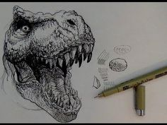 Pen and Ink Drawing Tutorial | How to draw a T-rex Dinosaur - YouTube