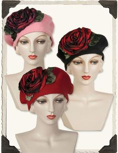 Louise Green Red Rose Berets. A sumptuous hand-turned silk bloom upon the distinctively French wool cap is tres oo-la-la. From the celebrated milliner for the Kentucky Derby. 100% wool. Hand dyed ombre silk satin flowers and silk velvet leaves. One size fits most.