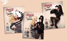 Jean Paul Gaultier's limited edition Diet Coke (aka Coke Lite) bottles are on the shelves at Harvey Nichols from16 March. Brilliantly whimsical this is some of the most fabulous beverage packaging ever seen! Gaultier has also shot amazing commercials utilizing marionettes and his wry sense of humor. The 2 bottle designs, 'Day' -  inspired by his signature Breton stripes & featuring JPG's sailor motif; and 'Night' - dressed in lace, fishnet and a provocative corset complete with cone bra.