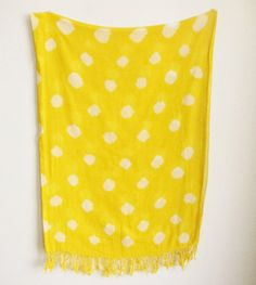Image of Yellow Polka Dotted Cotton Voile Shawl - Proud Mary