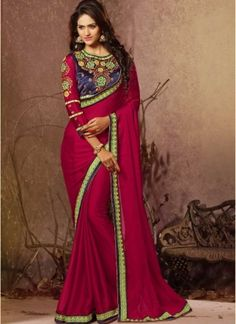 Glowing Magenta Chiffon With Patch Border Work Saree http://www.angelnx.com/Sarees/Party-Wear-Sarees