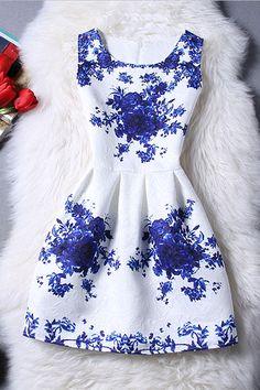 $19.99 Sleeveless Blue Rose Dress - BLUE/WHITE S