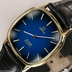 SWISS MEN'S OMEGA DE VILLE QUARTZ BLUE DIAL WATCH #Omega #LuxuryDressStyles