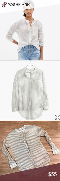 Madewell atlas popover striped shirt blouse Size can. GUC no trades. 19 inch bust and length is a little high low so see photos! Cotton/silk blend. Madewell Tops Button Down Shirts