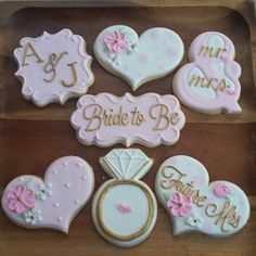 Image may contain: 1 person Wedding Shower Cookies, Bridal Shower Desserts, Wedding Cupcakes, Wedding Cake, White Bridal Shower, Bridal Shower Party, Bridal Showers, Bride To Be Decorations, Bridal Shower Decorations