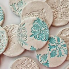 DIY Stamped Clay Magnets - Gathering Beauty using air dry clay - could also be done with polymer or pottery clay. Another take on salt dough ornaments also. Diy Clay, Clay Crafts, Fun Crafts, Diy And Crafts, Arts And Crafts, Clay Christmas Decorations, Christmas Crafts, Christmas Ornaments, Hanging Decorations