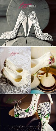 95caa96c7d94 personalized hand painted wedding shoes by cristina Hand Painted Heels