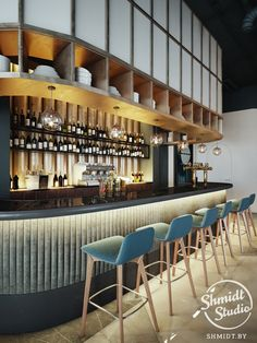 Home Decoration For Living Room Bar Lounge, Cafe Bar Counter, Hotel Plaza, Cladding Design, Blue Cafe, Restaurants, Café Bar, Counter Design, Decoration Bedroom