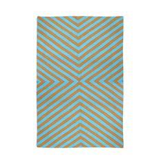 Modern Area Rugs | Teal and Tan Bridget Indian Kilim Flat Weave Rug | Jonathan Adler