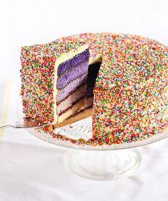 Purple Ombré Sprinkles Cake by raspberricupcakes#Cake #Ombre #Sprinkles #raspberricupcakes