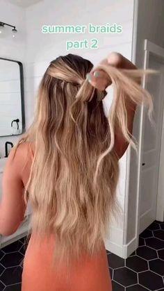 Summer Hairstyles For Medium Hair, Girl Hairstyles, Simple Hairstyles For Long Hair, Easy Beach Hairstyles, Hairstyles For Dresses, Simple Hairstyles For School, Simple Hairstyles For Medium Hair, Easy Hairstyle Video, Hairstyles For Medium Length Hair Easy
