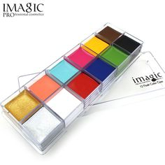 IMAGIC Professional Halloween Party Face Body Painting Body Paint Oil Tattoo Painting Art Makeup Cosmetic Bodypainting 12 Color