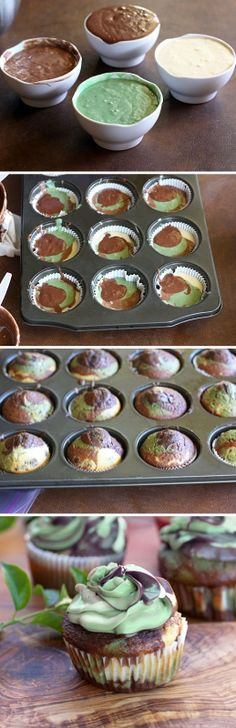 Camaflauge cupcakes  @Nicole Anderson I can see you doing this for the kids if you haven't already.