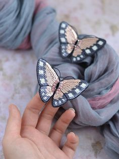 Pink and Grey Butterfly Pin Brooch Small and Large - Pink and Grey Butterfly Pin Brooch Moth Broche Handmade Beaded Jewelry, Beaded Jewelry Patterns, Brooches Handmade, Zipper Jewelry, Butterfly Pin, Butterfly Jewelry, Butterfly Costume, Butterfly Design, Beaded Brooch