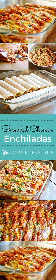 Shredded Chicken Enchiladas great dinner best chicken enchiladas #chicken #enchiladas #dinner Lacey Baier www.asweetpeachef.com