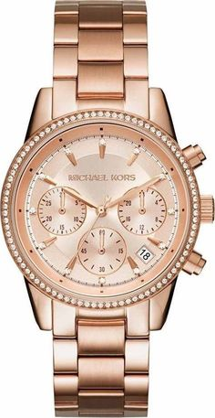 Michael Kors Ritz Crystal-encrusted Stainless Steel Watch In Gold Big Watches, Seiko Watches, Fossil Watches, Luxury Watches, Trendy Watches, Popular Watches, Cheap Watches, Bracelet Or Rose, Bracelet Watch