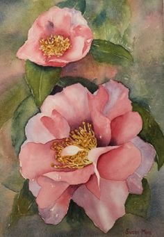 'Ín full Bloom' watercolor painting by Susan Moss available as an iPad case Watercolor Flowers, Watercolor Art, Watercolour Paintings, Watercolours, Moss Art, Art Plastique, Beautiful Paintings, Painting Inspiration, Flower Art