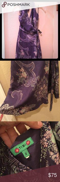 Silk Tibi halter dress EUC Silk Tibi halter dress EUC, wrap so pretty.. Runs a bit small Tibi Dresses Midi