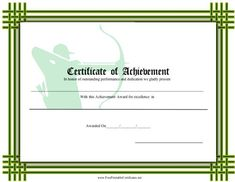 This printable certificate with a green interlocking border recognizes achievement in archery and features a background with a figure with a quiver, bow, and arrows. Free to download and print